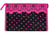 china supplier satin dotted personalized cosmetic bags,lace cosmetic bag,ladie's lace cosmetic bag