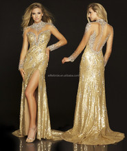 e075 sexy front slit dresses evening dresses with crystal long sleeve see through prom dress