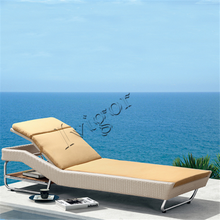 LG383 Outdoor hotel sun lounger rattan wicker furniture sun lounger with cushion