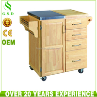 Rubber wood kitchen island functional storage cabinet simple designs