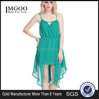 MGOO 2015 Latest Design Green Chiffon Dress Wholesale Clothing Mini Front Short Back Long Beach Summer Dress D499