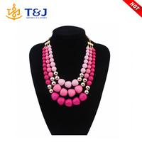 2015 wholesale fashion latest multilayers large plastic bead personalized elegant beaded necklace