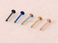 LP001 1.2mm ball 2.5mm flat ends 8mm length stainless steel mini body flat lip piercings ring