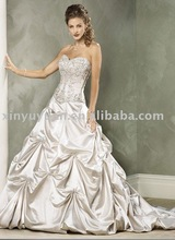 faux two pieces wedding dress , wedding gown with beaded bodice , popular A line ruffled bridal gown MA-163