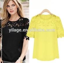 el último verano de la moda de las señoras blusas más el tamaño de blusas de gasa con encaje