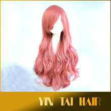 Light pink New Heat OK Synthetic Hair Long Curly Wavy Bangs Cosplay Anime Full Wig Cosplay Party Hair Wig