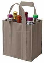 Durable 600D Polyester 6 pack wine bag with reinforced long handles