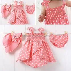Baby dress cutting pink polka dot baby girl summer dress with hat underwear