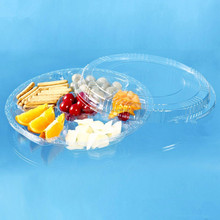 big round six compartment plastic food snack tray with lid