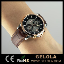Limited-time promotion Men High Quality and Genuine Leather Watch Two Window Quartz and Japan Movt. Hot Selling Watch