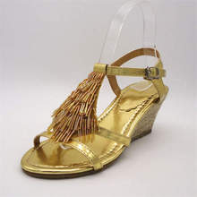 Innovative design 2014fancy secy gold jewel up flat ladies sandal