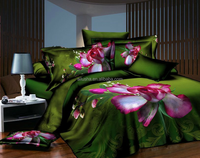 natural green flower design printed fitted quilted queen satin bedspread and curtain set