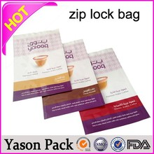 Yason ziplock bags write on rice packaging bag with zipper zipper top gusset bag