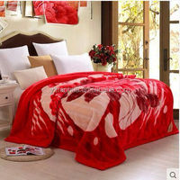 High Quality Heated 2Ply Polyester Flower Printed Raschel Blankets