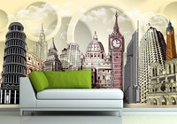 Eco-friendy 3d huge room mural famous tourist buildings papel de parede background bedroom sofa tv wallpaper murals