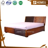 BD0905 - Picture of India storage wood double bed designs with box