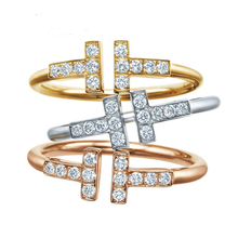 Fashion 925 Sterling Silver Tiffancy Double T Opening Ring Tail Ring With CZ Diamond