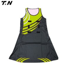 light yellow color breathable sexy girl netball dress