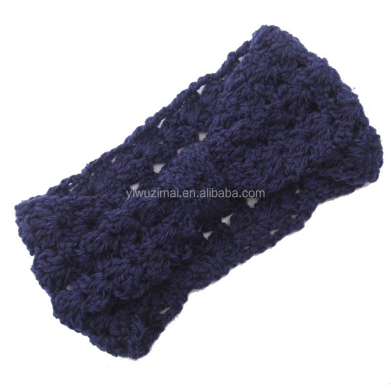Invierno al por mayor azul venda del knit del ganchillo patrón ...
