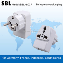 Turkey conversion plug,The gauge adapter,Three holes digits,Apply to Germany, France, Indonesia, South Korea, etc