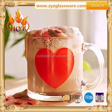 Machine made glass mug with logo
