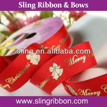 2012 Golden Christmas Bell/Ring Printed Ornamental Ribbon
