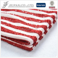 Jiufan Textile 2015 Hot Selling Polyester Rayon Yarn Dyed Sequined Stripe Knit Fabric For Garment Sweater