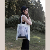 Customized Reusable Cotton Shopping Bags Green Canvas Tote Bag Wholesale Women Single Bag