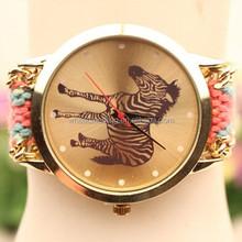 New fashion cute handcrafted Woven cartoon quartz watch, alibaba china fabric women geneva watches