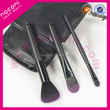 NOCONI promotion 3pcs high quality nylon hair wooden handle mini makeup brush set with leather bag