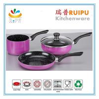 European popular Special design 4pcs purple color premier cookware,first horse flavor stone cookware