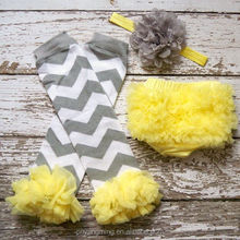 Baby Girl TuTu Bloomers Chiffon Ruffle Diaper Cover Yellow white Headband Set 6 12 18 months Photography Prop CAKE SMASH Chevron