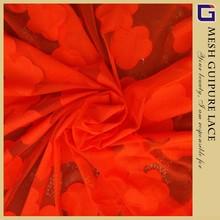 Rosa roja polyester apliques de encaje de guipur para el vestido de boda