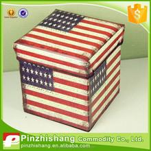 PU foldable storage stool box