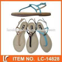 trenza de estilo flip flop de paja de sandalias para mujeres