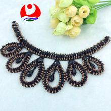 Elegant black glass beaded tear drop collar trimming for women garment accessories