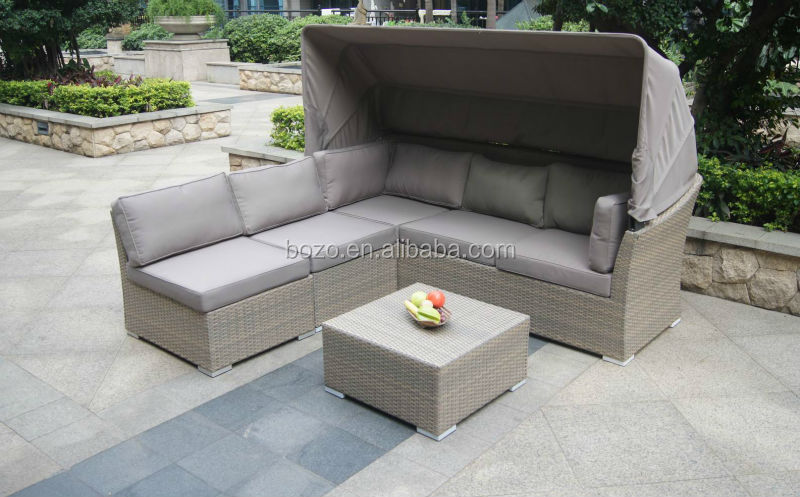 Flat Rattan Wicker Garden Corner Sofa With Canopy Outdoor Patio Plastic Wicker Furniture Buy