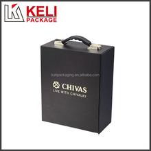 Custom recycled cardboard wine box with handle