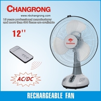 emergency rechargeable 12 inch AC/DC operated fan with led night light remote table fan