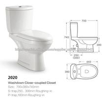 Cerámica de Chaozhou cuarto de baño baldeo inodoro de dos piezas de cerámica JL-2020