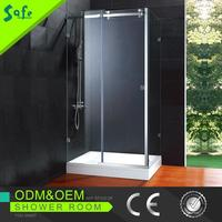 Rectangular clear glass wholesale enclosed shower cubicle with rollers