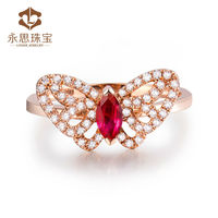 Hot!Butterfly Design Jewelry Natural Marquise Cut Ruby Ring In Solid 18K Rose Gold Ring Diamond Ruby For Sale SR0395