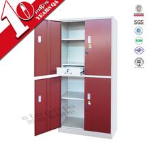 Used Home CKD Modern Metal Wardrobes / red door 4 door wardrobe cabinet