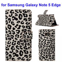 2015 new Leopard Texture Wallet case for Samsung Note 5 edge