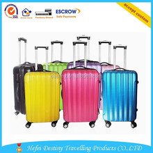 hot sale aluminum alloy bar pure color ABS+PC travel trolley bag with candy color