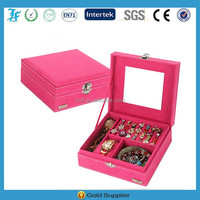 2015 Hot Sale Wholesale Velvet Jewelry Box with Large mirror