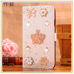 Wholesale Rhinestone bling wallet case For iphone 5, leather Flip case for iphone 5s