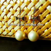 wholesale 925 silver 10mm round yellow south sea shell pearl earring