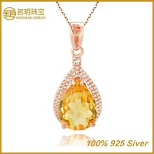 Modern Style! Sterling Silver Pendant with Color Fill Oval Crystal Necklace Chandelier
