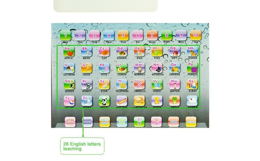 Novo tablet educacional voz ipad abc crianças laptop aprendizagem de máquina inglês